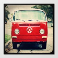 Red VW Bus Canvas Print