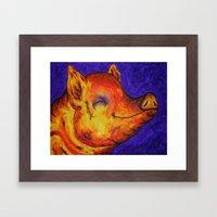 Pig, Happy Framed Art Print