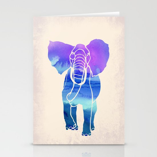 Watercolor Elephant Stationery Card