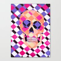 skulladelic pink plaid Canvas Print