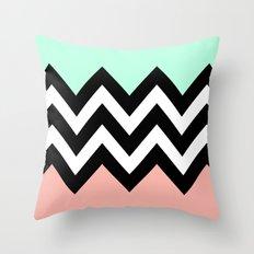 DOUBLE COLORBLOCK CHEVRON {MINT/CORAL/BLACK} Throw Pillow