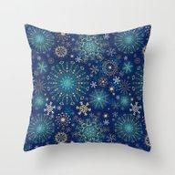 Blue Gold Snowflakes  Throw Pillow