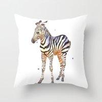 zebra, baby zebra, african wildlife, black and white, stripes, safari art Throw Pillow