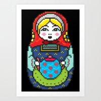 16bit Matrioska Black Background Art Print