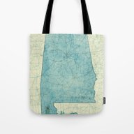Alabama Map Blue Vintage Tote Bag