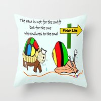THE RACE - the turtle and the snail Throw Pillow