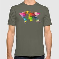 Geo World Map Mens Fitted Tee Lieutenant SMALL
