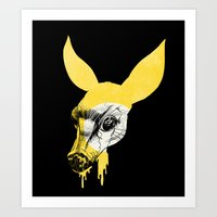 Fawn in Headlight Art Print