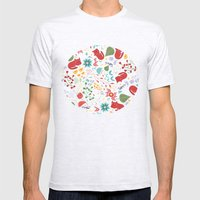 Cats And Flowers Mens Fitted Tee Ash Grey SMALL
