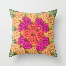 Bright Modern Crochet Pattern Throw Pillow