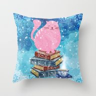Bookish Cat In Winter Throw Pillow