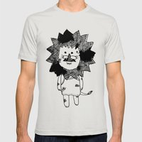 lion Mens Fitted Tee Silver SMALL