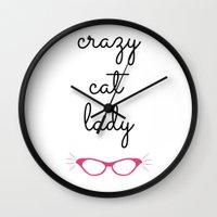 Crazy Cat Lady - Cat Eye… Wall Clock