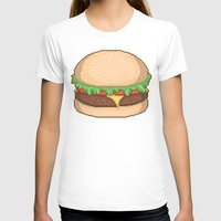 Cheeseburger Pixel Womens Fitted Tee White SMALL