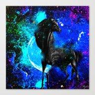 Horse Moon Stars Canvas Print