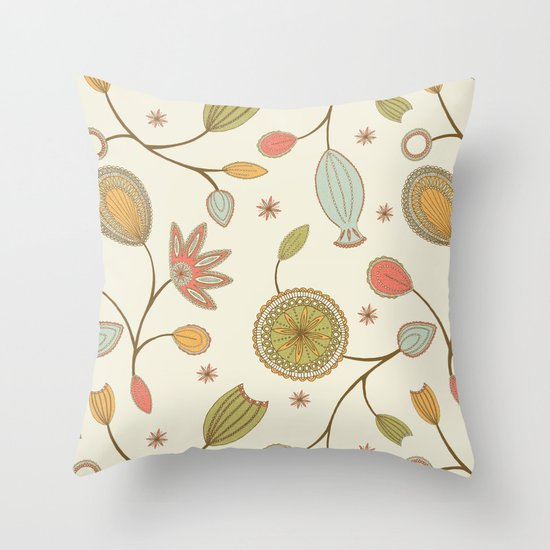 Mehndi Flower Throw Pillow