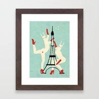 Paris bunnies Framed Art Print