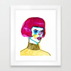 pink hair yellow sweater Framed Art Print