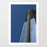 Freedom Tower And Moon Art Print