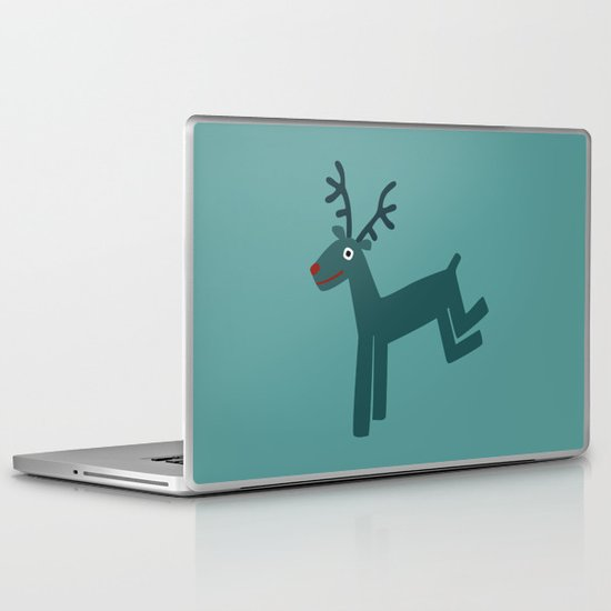 Reindeer-Teal Laptop & iPad Skin