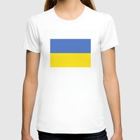 Ukraine country flag Womens Fitted Tee White SMALL
