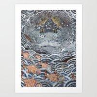Golden Fishes Art Print