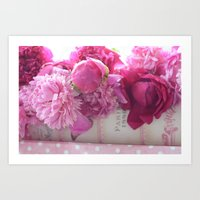 Romantic Paris Peonies  Art Print