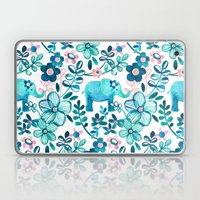 Dusty Pink, White and Teal Elephant and Floral Watercolor Pattern Laptop & iPad Skin