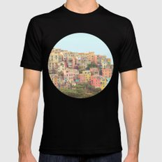 Colorful Houses SMALL Black Mens Fitted Tee