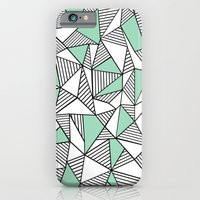 iPhone & iPod Case featuring Abstraction Lines with Mint Blocks by Project M
