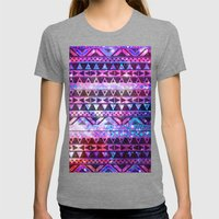 Head In Space | Girly Andes Aztec Pattern Pink Teal Nebula Galaxy Womens Fitted Tee Tri-Grey SMALL