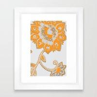 vintage paisley orange/grey Framed Art Print