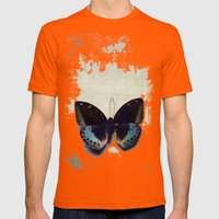 Vintage Butterfly 4 Mens Fitted Tee Orange SMALL