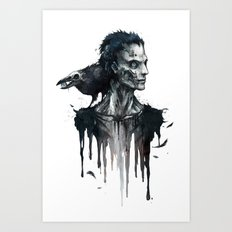 Zombie and Crow Art Print