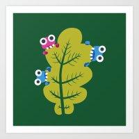 Bugs Eat Green Leaf Art Print