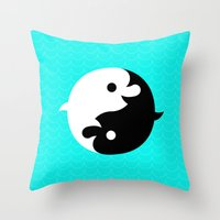 Yin Yang Dolphins Throw Pillow