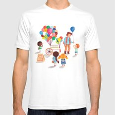 Balloon Stand Mens Fitted Tee SMALL White