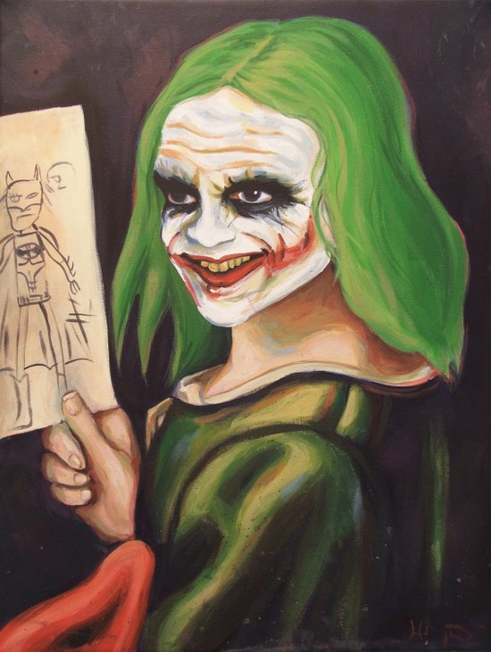 Young Joker Holding a Drawing Art Print