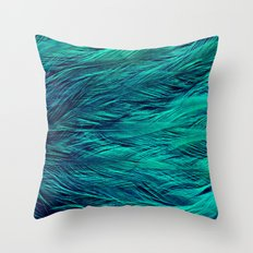 Teal Feathers Throw Pillow