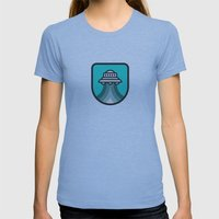 Alien Spacecraft Womens Fitted Tee Athletic Blue SMALL