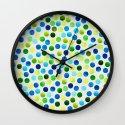 Watercolor Dots_Aqua by Jacqueline and Garima Wall Clock