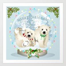 Snow globe bears Art Print
