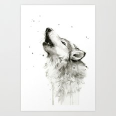Wolf Howling Watercolor Wildlife Painting Art Print