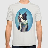 Boston Terrier Mens Fitted Tee Silver SMALL
