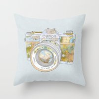 Travel Canon Throw Pillow