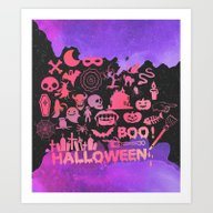 Art Print featuring A Very Pastel Halloween by Sara Eshak