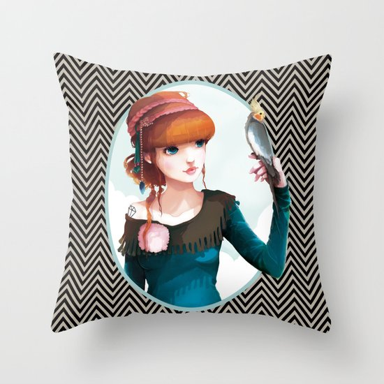 Rose et l'oiseau Throw Pillow