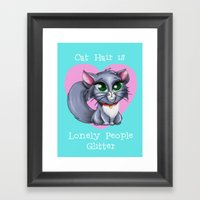 Cat Hair Is Lonely Peopl… Framed Art Print