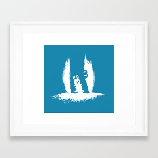 cornered! (bunny and crocodile) Framed Art Print