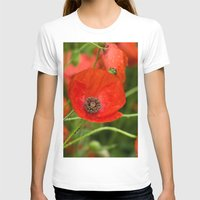 Wild Red Poppies Womens Fitted Tee White SMALL